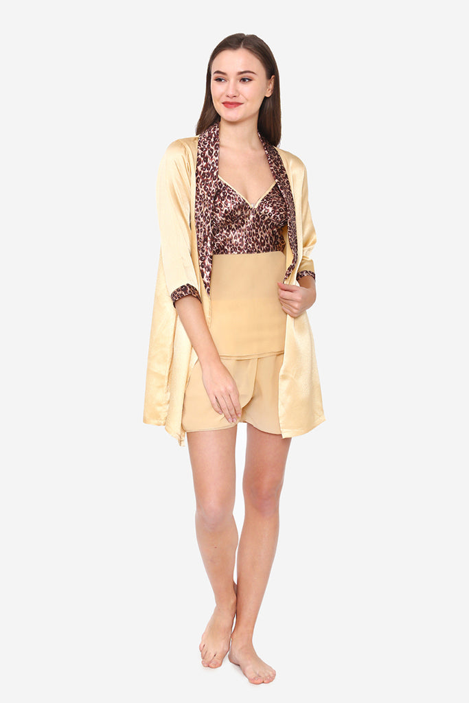 Gold Satin Spaghetti, Shorts & Robe - Private Lives