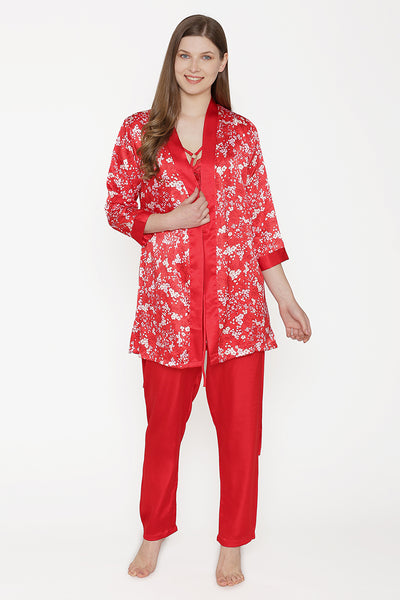 Private Lives Red Satin Top Pajama & Robe - Private Lives