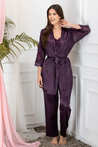 Private Lives Purple Satin 3Pcs Set - Private Lives