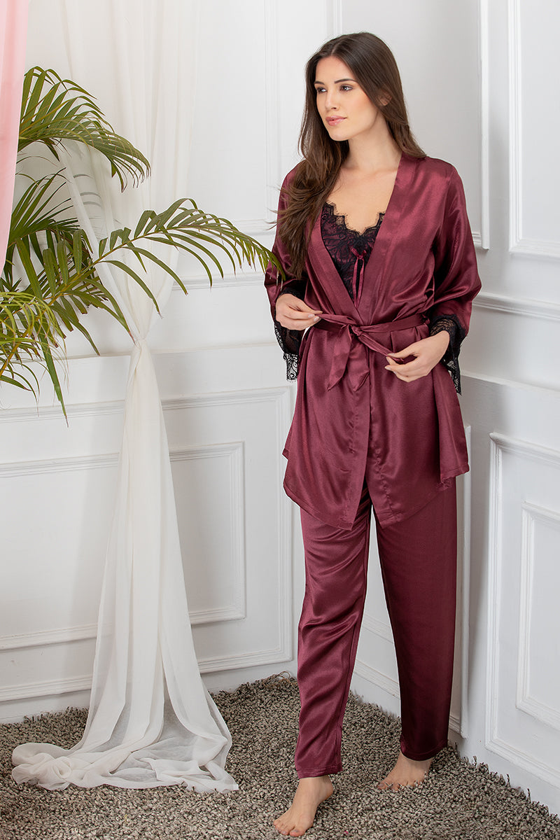 Private Lives Maroon Satin 3Pcs Set - Private Lives
