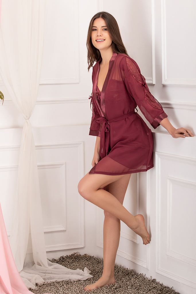 Private Lives Maroon Chiffon 3Pcs Set - Private Lives