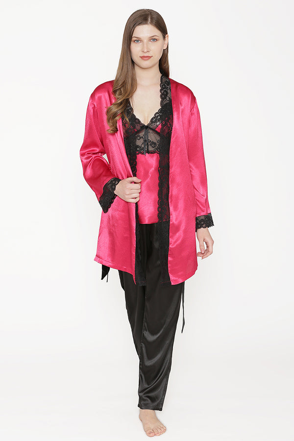 Private Lives Maroon Satin Top Pajama & Robe - Private Lives