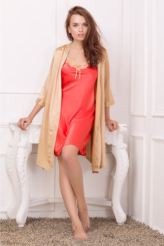 Coral strap Nightie & Golden Robe