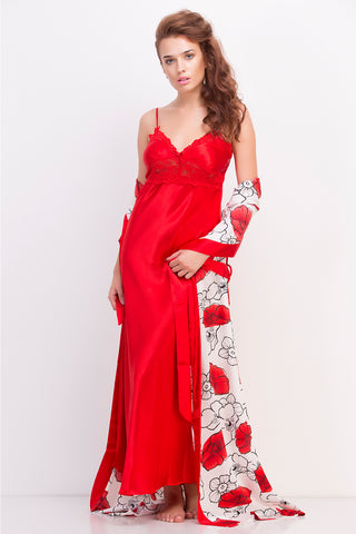 Red satin floral set
