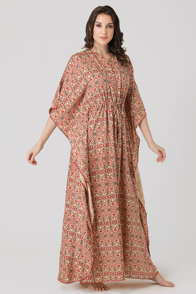Cotton Print Kaftan Nighty