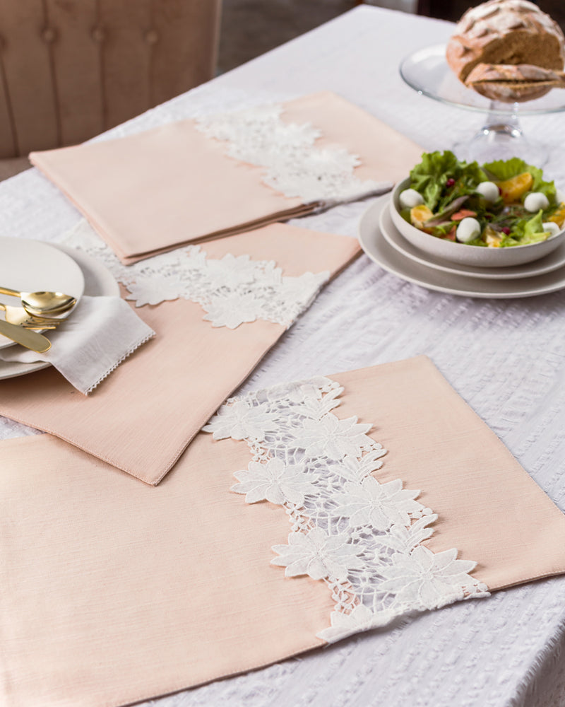 Peach linen and lace