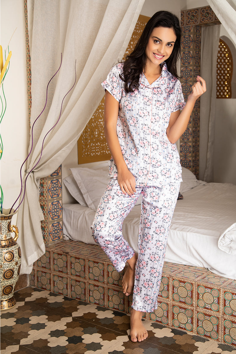 Floral Satin Button Down Night suit