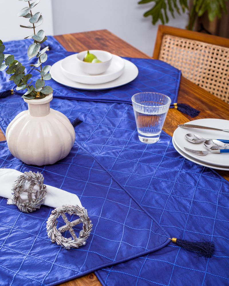 Silk Table Runner and mats in Indigo