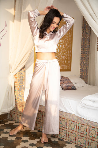 Relaxation All - Day & party all night long crop top flare pant swanky night suit in satin