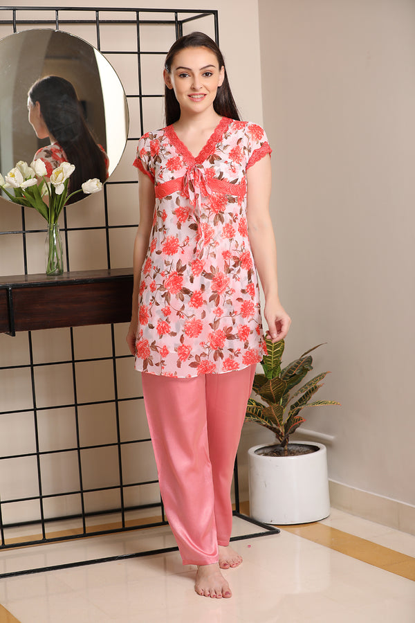 Floral Double chiffon Night suit