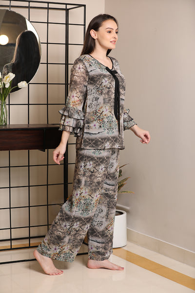 Ruffle sleeve double chiffon Night suit