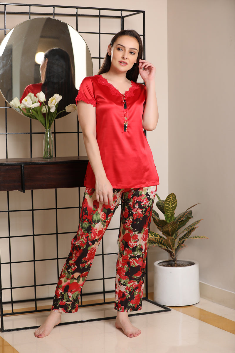 Floral print Satin Night suit