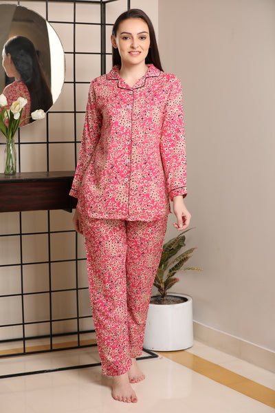 Floral Print Cotton Classic collar Night suit