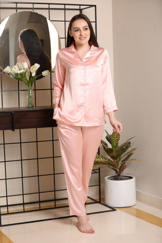 Beautiful Pink Classic Collar Night suit in luxe satin