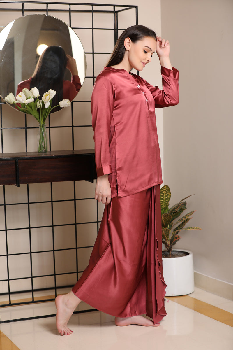 Classic Indian Lungi Kurta in Rose