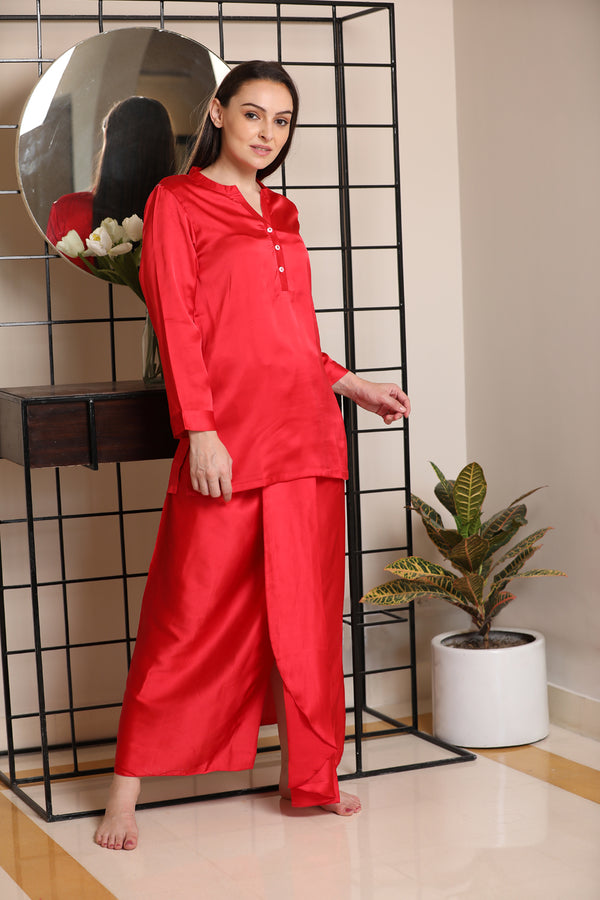 Classic Indian Lungi Kurta in Plain Satin