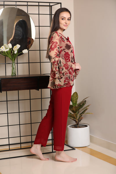 Flowers-from -florence  inspired  print layered chiffon ruffle sleeve Night suit