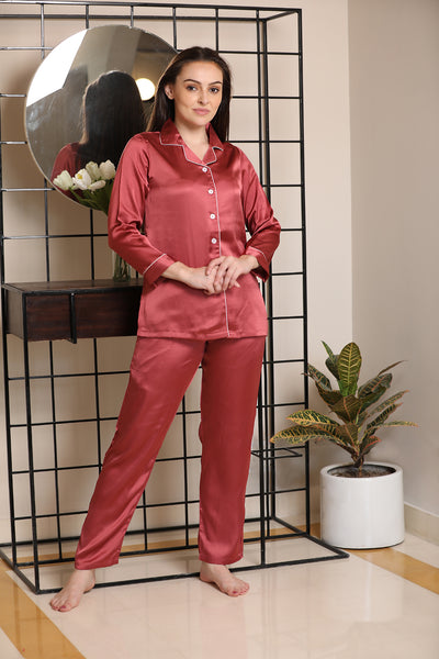 Classic collar button-front top night suit in satin