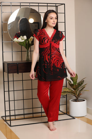 Print Double chiffon Night suit
