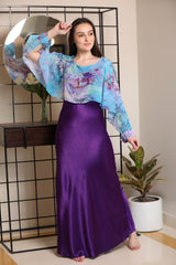 Illusion floral cape adorned nighty