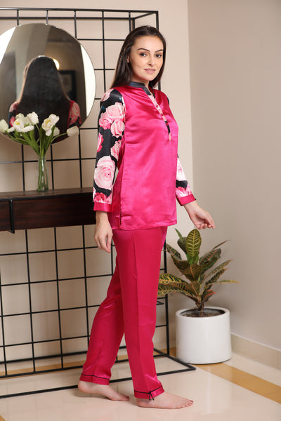 Satin Night suit with Digital Print sleeves