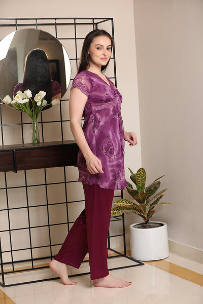 Print chiffon Top & Satin PJ Night suit
