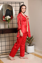 Red Satin Strap Night suit with Print Robe
