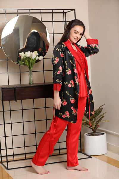 Red Satin Night suit with Print Robe