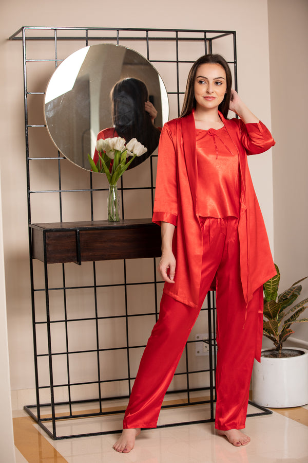 Red satin Night suit with Robe