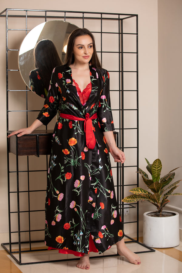 Feel-good floral night-gown set in fluid satin