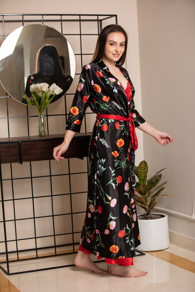Black Print Nightgown set