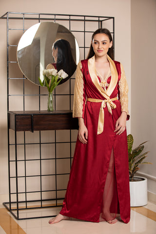 Maroon & Gold Designer Nightgown set