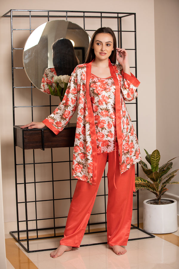 Print Satin Night suit with Robe