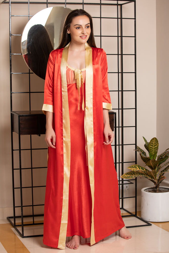 Red Satin Nightgown set