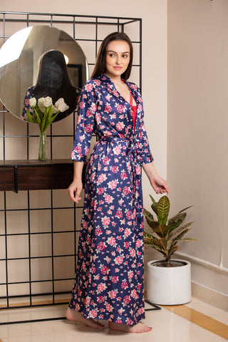 Print Satin Nightgown set