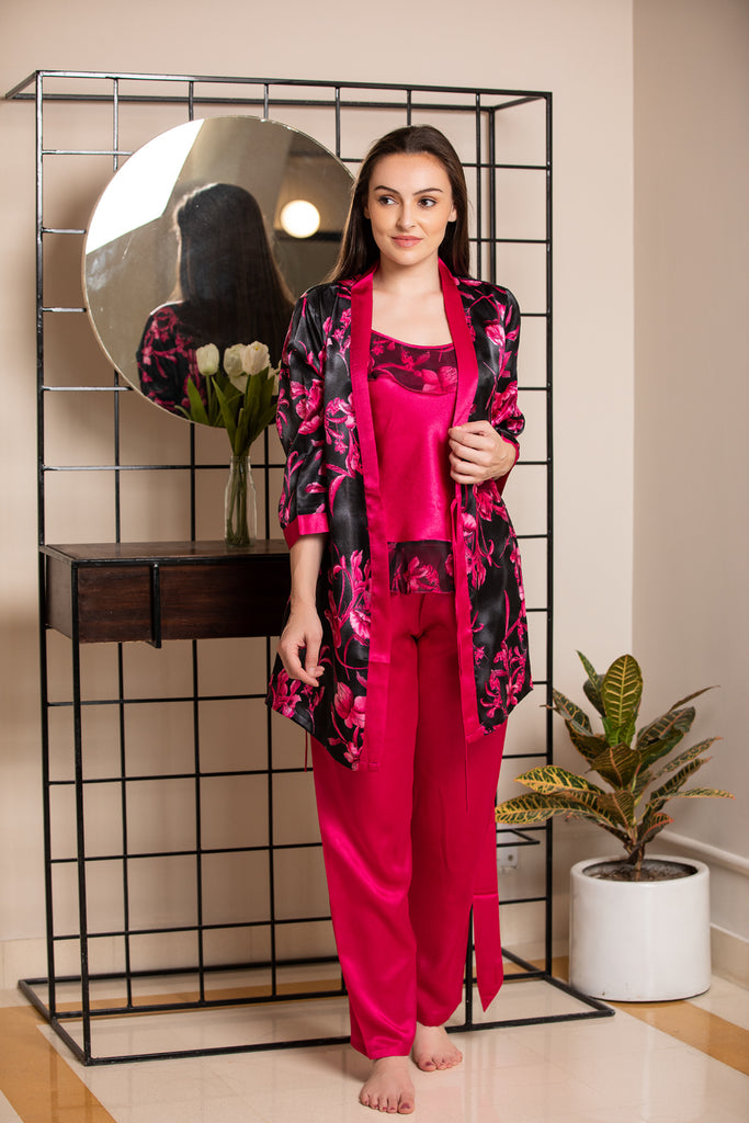 Satin Night suit with Robe