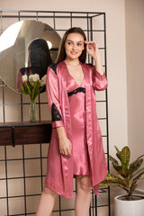 Fluid soft luxe satin short night gown set with contrast lace accents