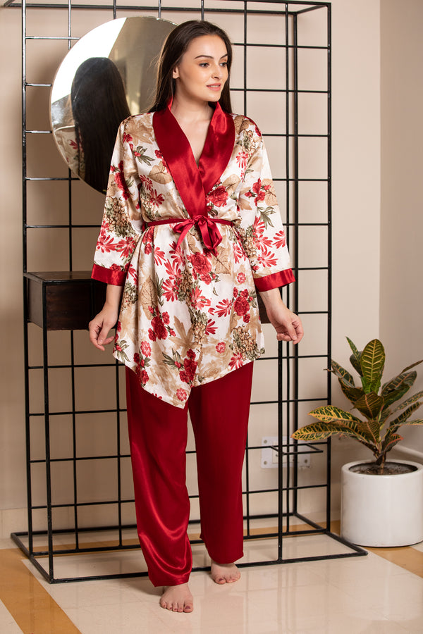 Strap Night suit with Print Robe