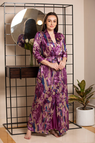 Strap Nighty & Digital print robe Nightgown set