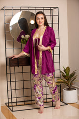 Satin Strap Night suit with Robe