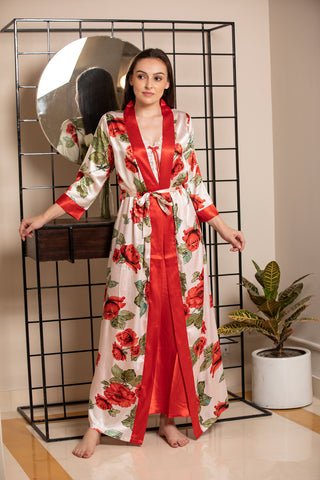 Satin Nighty & Digital print robe Nightgown set