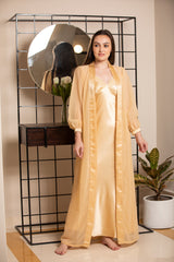 Luxurious Gold Nighty & Chiffon Robe Nightgown set