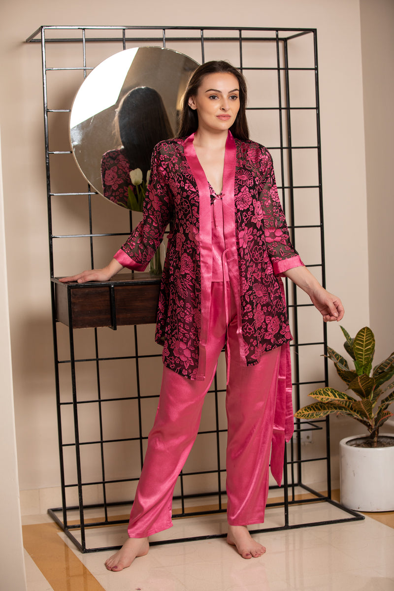 Satin Strap night suit with Floral Robe
