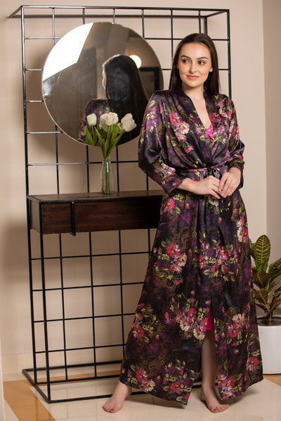 Plain Satin Strap Nighty with Digital Print Robe Nightgown set