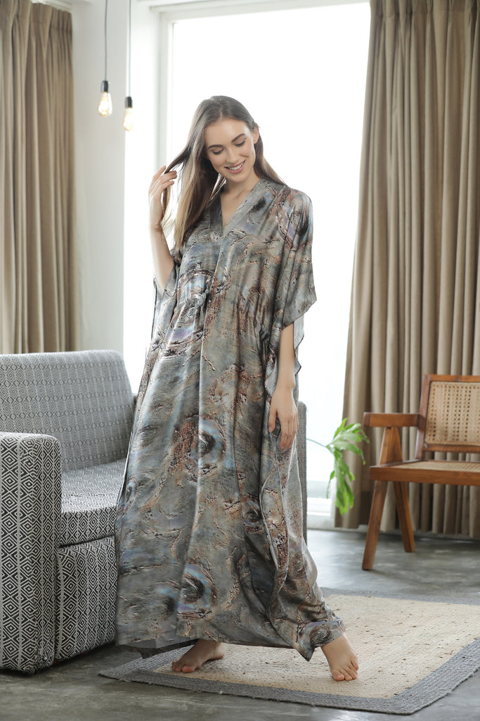 Wandering Galaxies Satin Kaftan Nighty