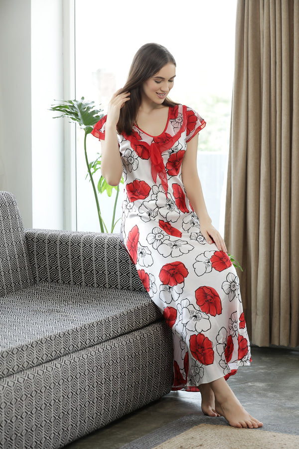 Elegant Floral bouquet Satin Nighty