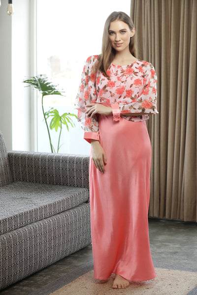 Plain Satin Nighty with Print Chiffon Cape