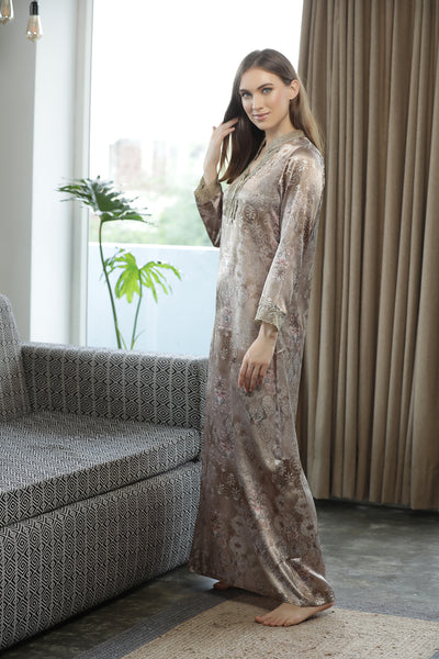 Satin Printed Nighty with Sleeves