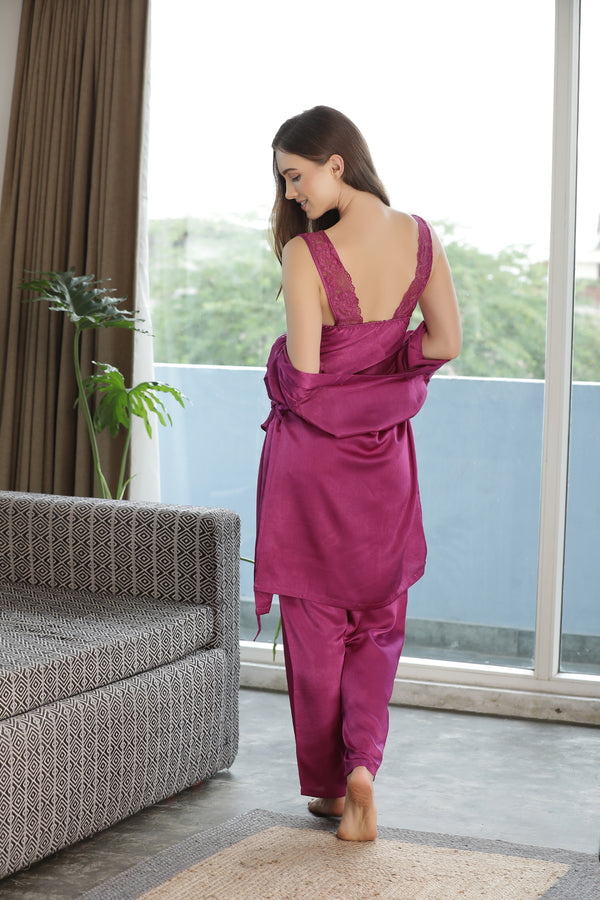 Plain Satin Night suit with Robe