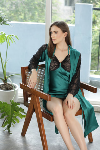 Green Satin Short Nightgown set